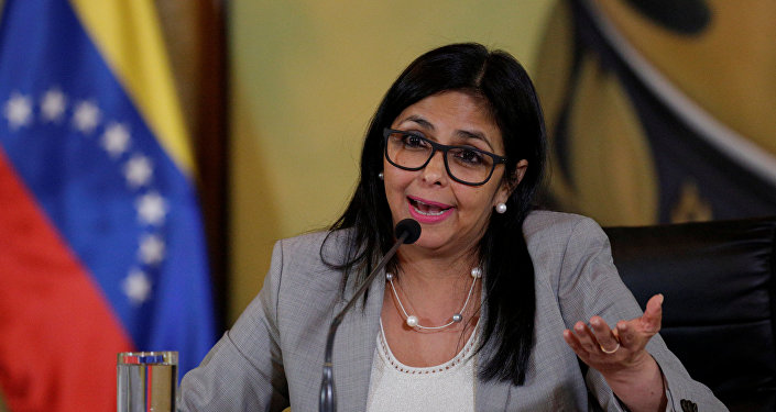 Venezuela's Foreign Minister Delcy Rodriguez talks to the media during a news conference in Caracas, Venezuela February 15, 2017.