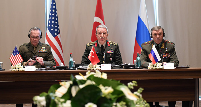Turkey's Chief of Staff General Hulusi Akar meets with U.S. Chairman of the Joint Chiefs of Staff Joseph Dunford and Russian Armed Forces Chief of Staff Valery Gerasimov in Antalya, Turkey March 7, 2017.