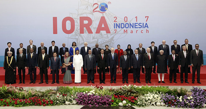 Leaders and ministers of participating countries pose for a group photo at the Indian Ocean Rim Association (IORA) Summit in Jakarta, Indonesia