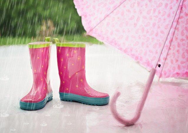 Rain boots umbrella