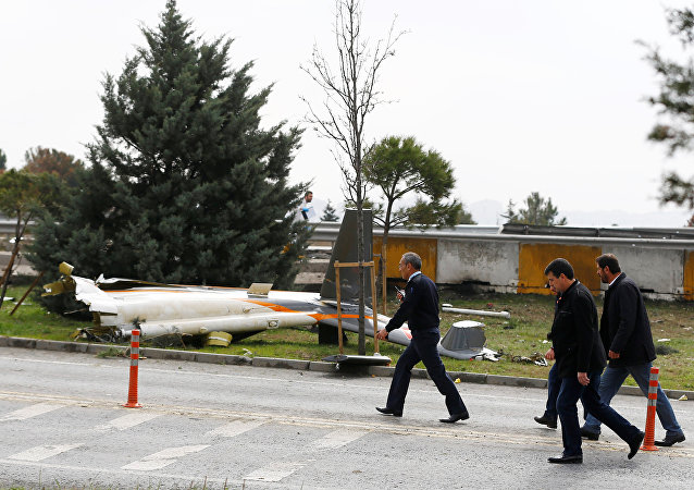 Wreckage of a helicopter is seen after it crashed in Istanbul, Turkey, March 10, 2017