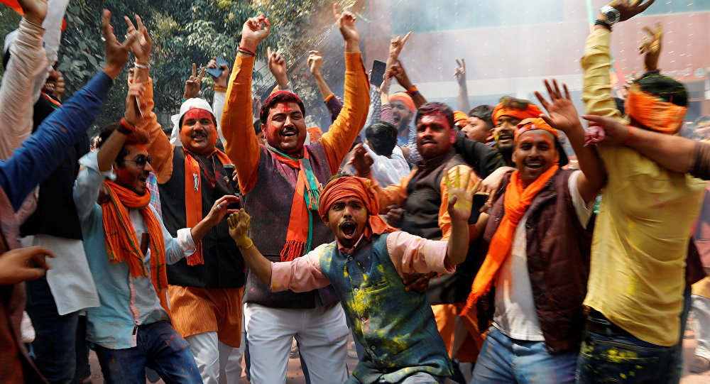 Early Celebrations Break Out at Ruling BJP's Headquarter in New Delhi