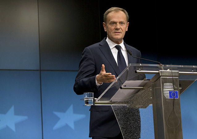 European Council President Donald Tusk speaks during a media conference at the end of an EU summit in Brussels