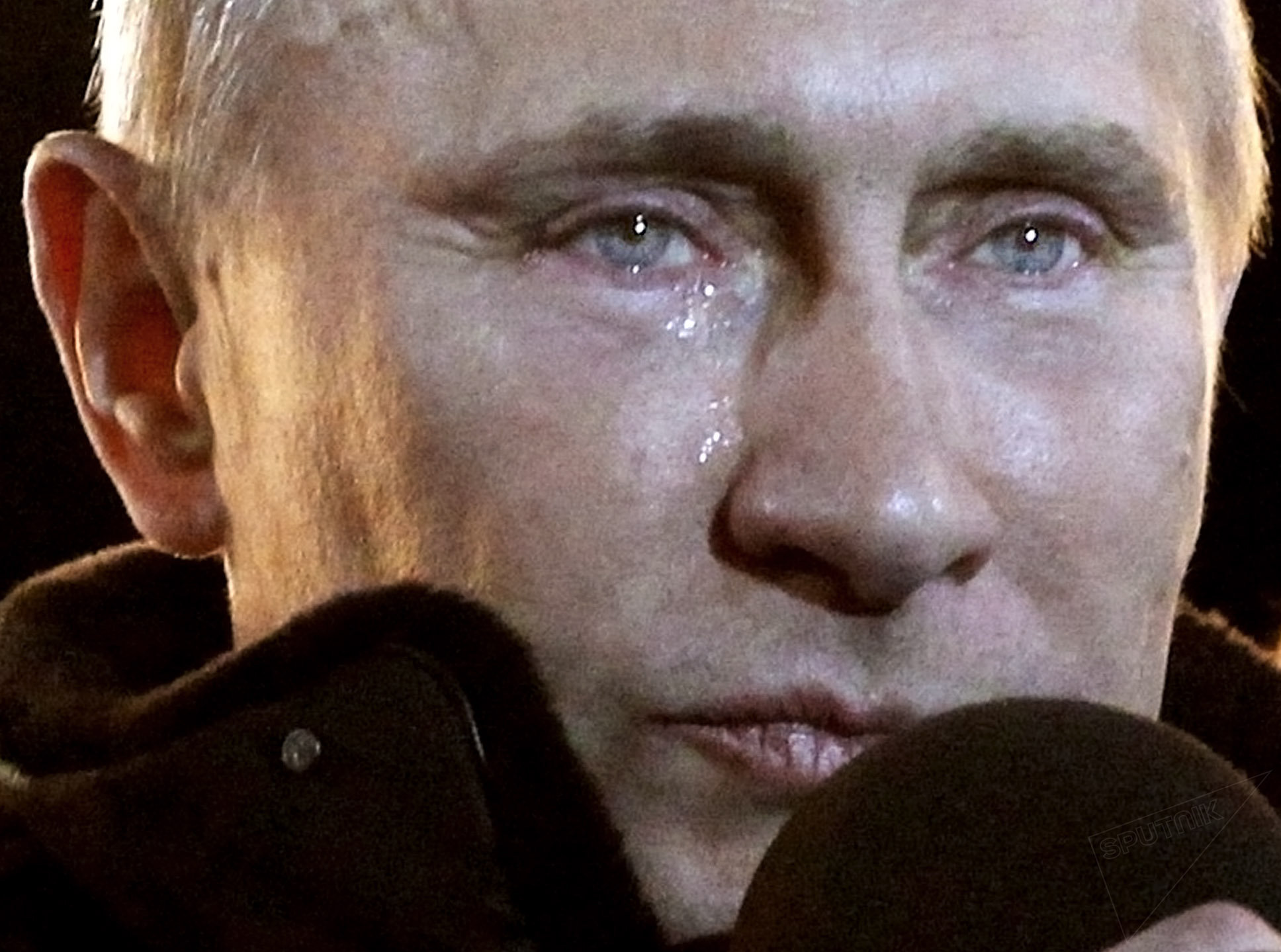 FILE - In this Sunday, March 4, 2012 file photo, Russian Prime Minister Vladimir Putin, who claimed victory in Russia's presidential election, tears up as he reacts at a massive rally of his supporters at Manezh square outside Kremlin, in Moscow.