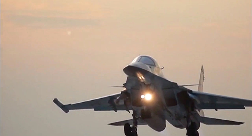 Russia's Sukhoi Su-34 Fullback tactical bomber returns to the Hamadan air base after the air strikes on ISIS sites in Syria. (File)