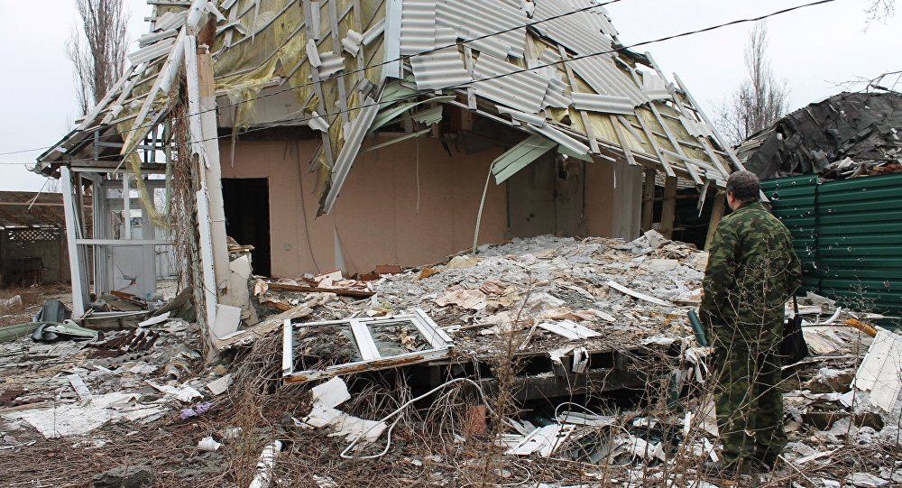 A damaged building in the village of Spartak in the Donetsk Region, affected by shelling