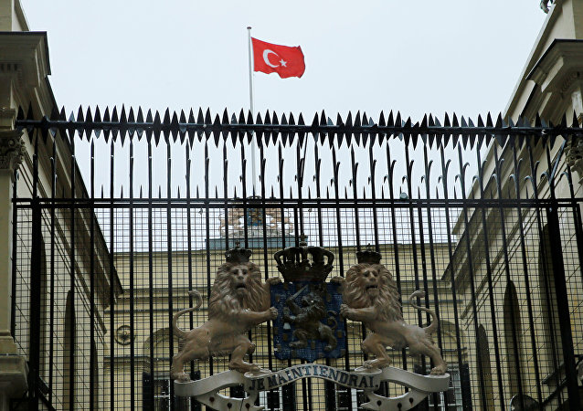 A Turkish flag flies over the Dutch Consulate in Istanbul, Turkey, March 12, 2017