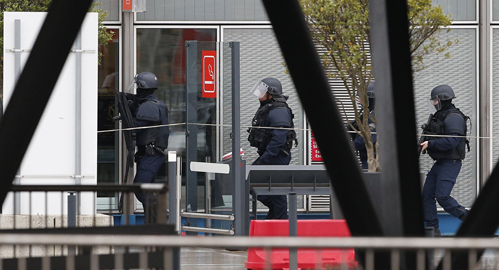 Elite police officers patrol at the Orly airport, south of Paris, Saturday, March, 18, 2017