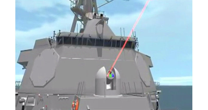Animation from a US Navy video showing how the new ship-mounted laser cannon would work.