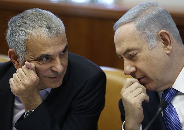 Israeli Prime Minister Benjamin Netanyahu (R) talks to Moshe Kahlon, Israel's Finance Minister, during the weekly cabinet meeting in Jerusalem, on January 31, 2016