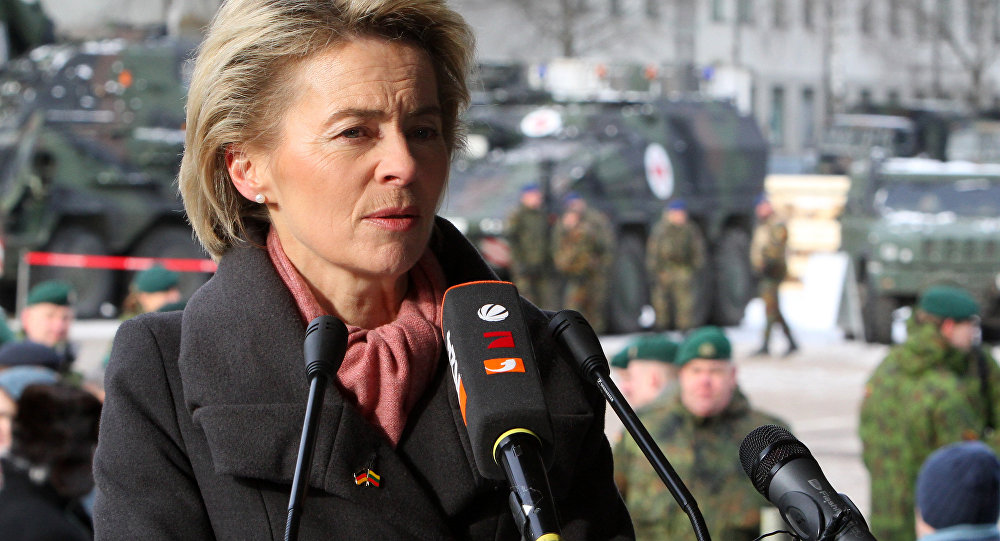 German Defence Minister Ursula von der Leyen speaks during a press conference after the official welcome ceremony for the arrival of first troops of the NATO enhanced Forward Presence battalion battle group in Rukla Lithuania on February 7, 2017