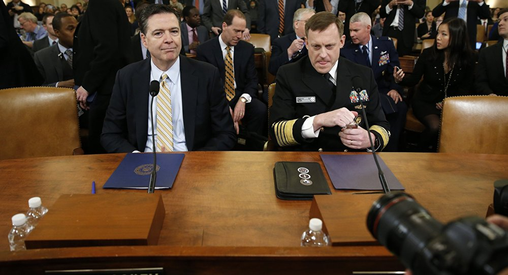 FBI Director James Comey (L) and National Security Agency Director Mike Rogers take their seats at a House Intelligence Committee hearing into alleged Russian meddling in the 2016 U.S. election, on Capitol Hill in Washington, U.S