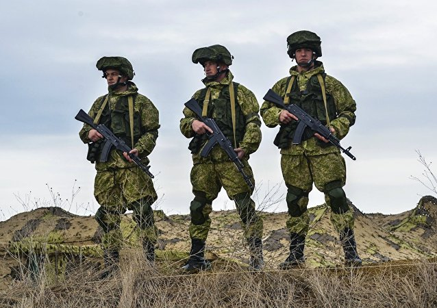 Russian servicemen during the Command Post exercise of the Airborne Force at the Opuk base in Crimea.