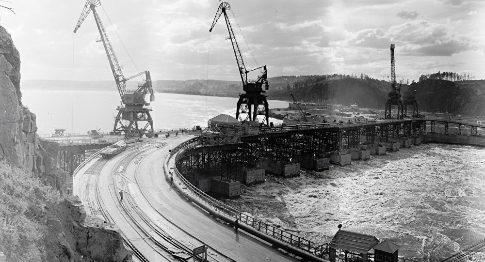 Construction of Bratsk HPP in Irkutsk region.