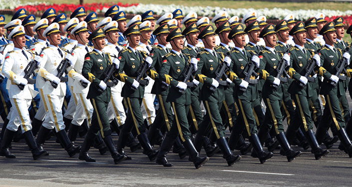 Chinese troops march as they take part in Pakistan Day military parade in Islamabad, Pakistan, March 23, 2017