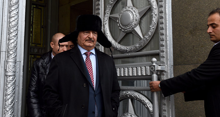 Marshal Khalifa Haftar, chief of the so-called Libyan National Army, leaves the main building of Russia's Foreign Ministry after a meeting with Russian Minister of Foreign Affairs in Moscow on November 29, 2016