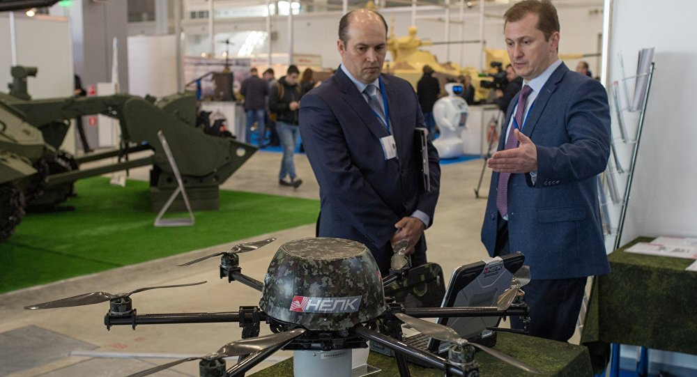 Unmanned aerial reconnaissance aviation complex at the exhibition during the Robotization of the Russian Armed Forces 2nd Military & Scientific Conference at Patriot Congress and Exhibition Center. (File)