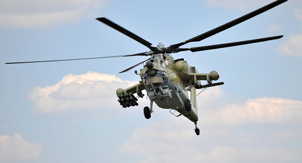 A Mi-28UB combat training helicopter during the first demonstration flight at the Rostvertol flight-test base in Rostov-on-Don. (File)