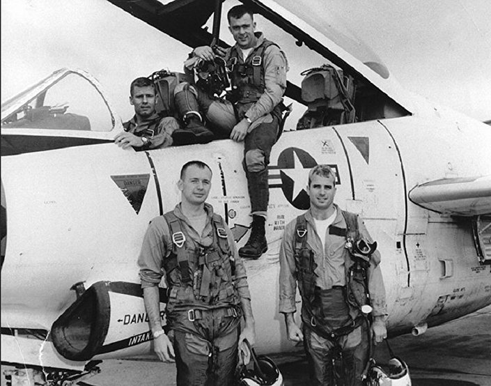 John McCain (bottom row, right) prior to a bombing mission in Hanoi