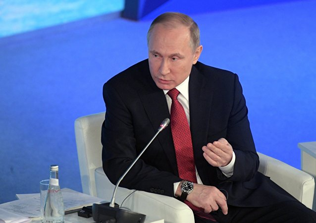 Russian President Vladimir Putin at The Arctic: Territory of Dialogue forum in Arkhangelsk