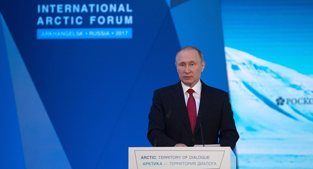 Russian President Vladimir Putin visits The Arctic Territory of Dialogue international forum