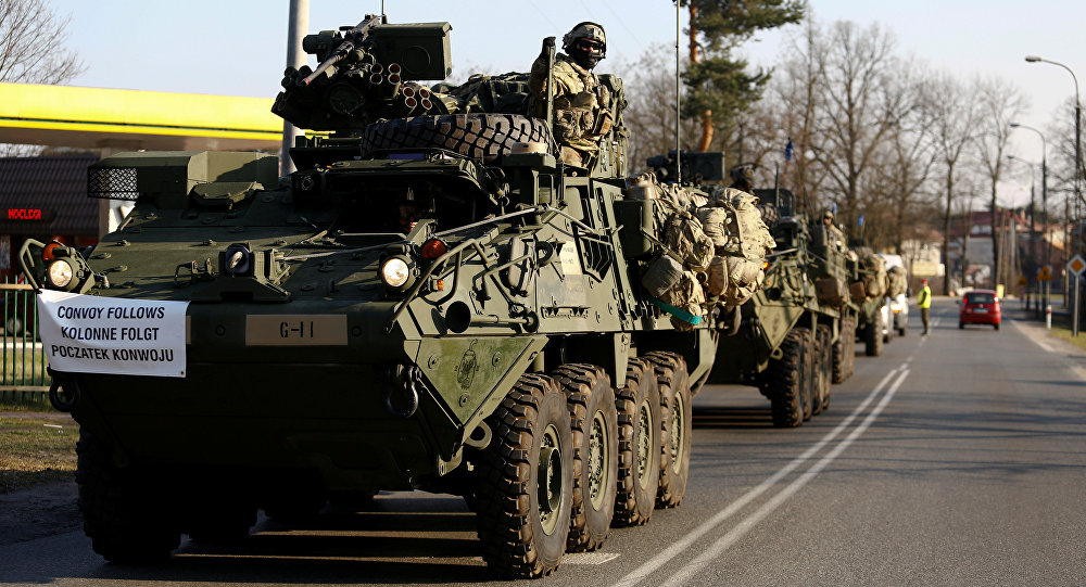 A convoy of US troops, a part of NATO's reinforcement of its eastern flank, who are on their way from Germany to Orzysz in northeast Poland, drive through Sulejowek towards a military base in Wesola, near Warsaw, Poland, March 28, 2017