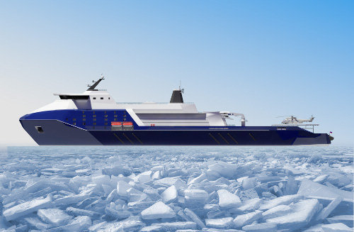 The 'Leader' nuclear icebreaker project. Concept art.