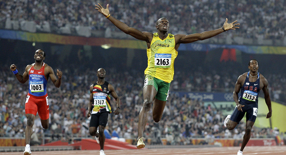 FILE - In this Aug. 20, 2008 file photo, Jamaica's Usain Bolt crosses the finish line to win the gold in the men's 200-meter final during the athletics competitions in the National Stadium at the Beijing 2008 Olympics in Beijing