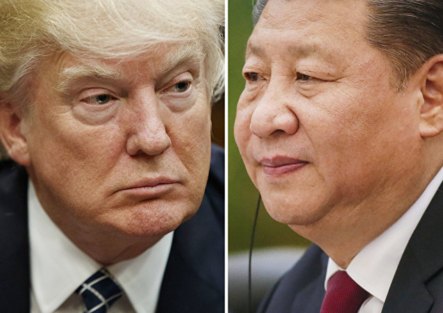 This combination of file photos shows U.S. President Donald Trump on March 28, 2017, in Washington, left, and Chinese President Xi Jinping on Feb. 22, 2017, in Beijing