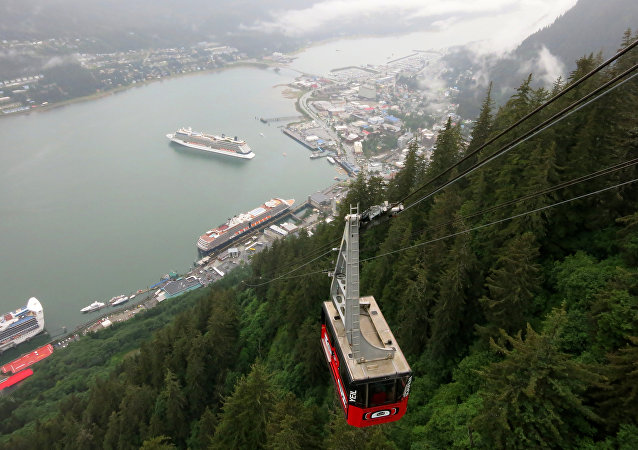 Mount Roberts Tramway offers an aerial view of cruise ships anchored in Juneau, Alaska.