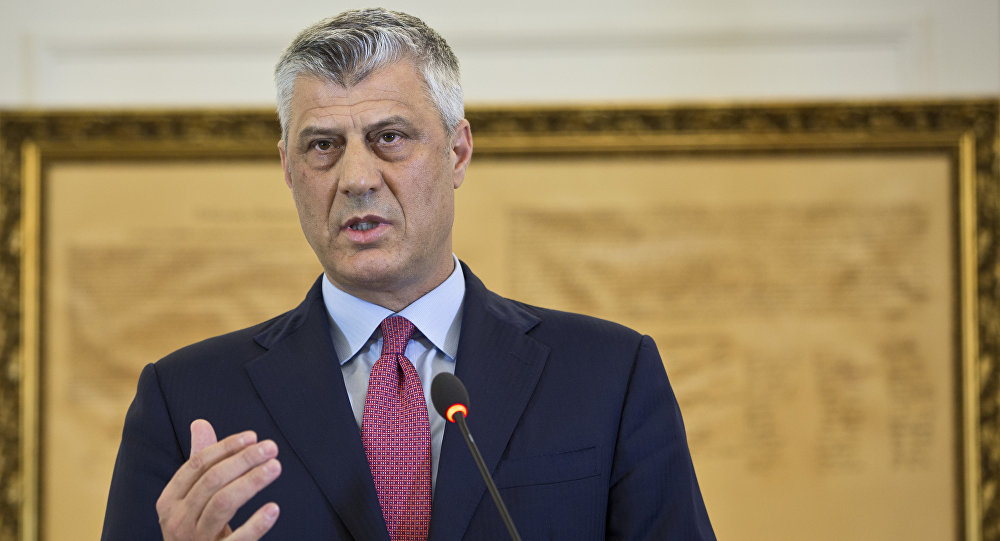 Kosovo President Hashim Thaci during a press conference in capital Pristina, Kosovo