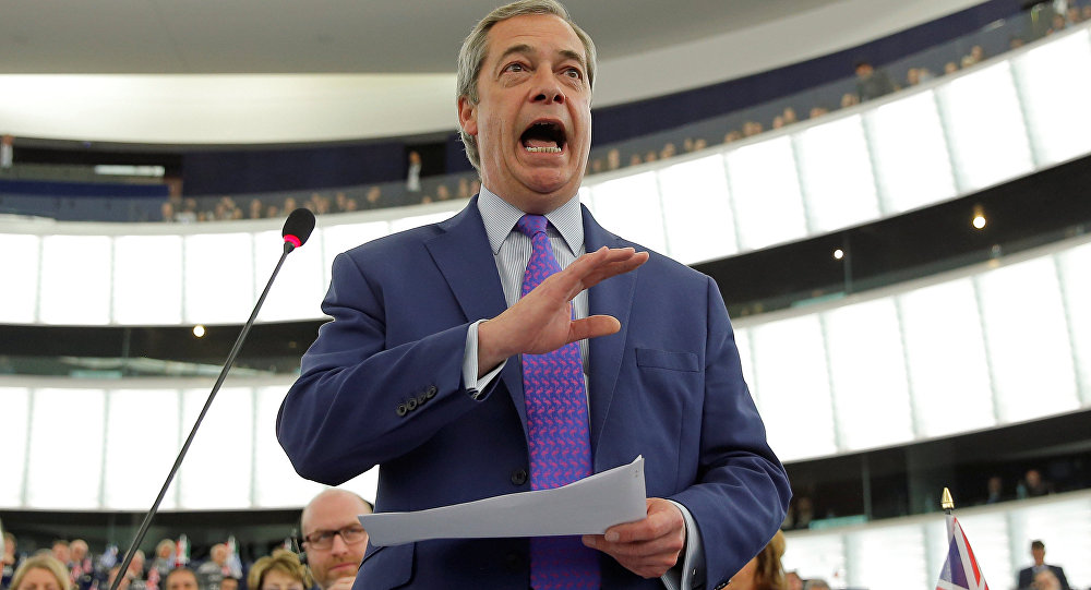 Nigel Farage, United Kingdom Independence Party (UKIP) member and MEP, addresses the European Parliament during a debate on Brexit priorities and the upcomming talks on the UK's withdrawal from the EU, in Strasbourg, France, April 5, 2017.