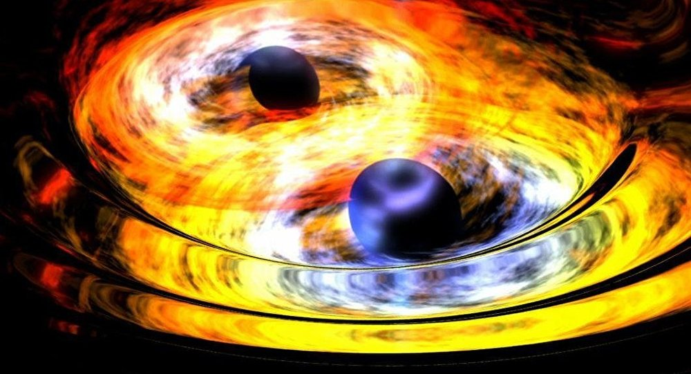 Two black holes on way to becoming one artist concept