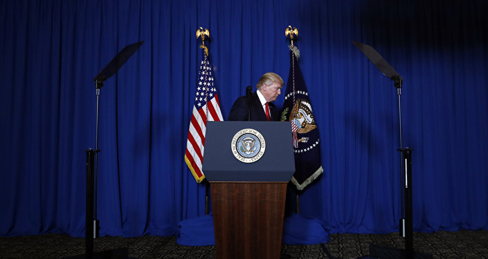 President Donald Trump walks from the podium after speaking at Mar-a-Lago in Palm Beach, Fla., Thursday, April 6, 2017, after the U.S. fired a barrage of cruise missiles into Syria Thursday night