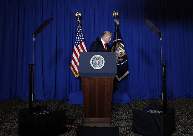 President Donald Trump walks from the podium after speaking at Mar-a-Lago in Palm Beach, Fla., Thursday, April 6, 2017, after the U.S. fired a barrage of cruise missiles into Syria Thursday night in retaliation for this week's gruesome chemical weapons attack against civilians.