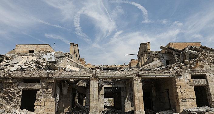 Debris lies at the railway station in Mosul, Iraq, April 5, 2017.