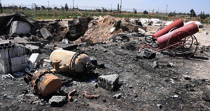 Aftermath of the US missile attack on the Syrian military airbase