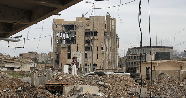 Destroyed buildings in Mosul