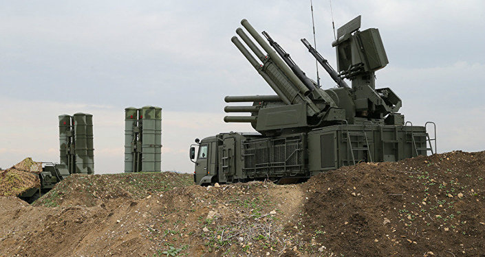 The Pantsir-S1 short-to-medium range gun-missile system at Russian Airbase in Syria