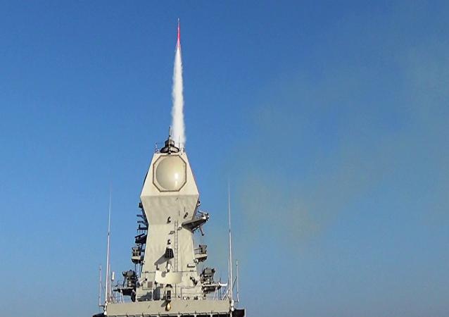 INS Kolkata firing a Barak 8 long-range Surface-to-Air Missile (SAM)