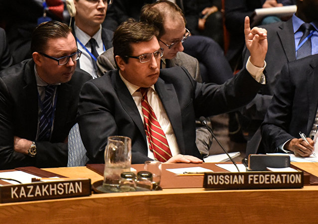 Russian Deputy Ambassador to the United Nations Vladimir Safronkov delivers remarks during the Security Council meeting on the situation in Syria at the United Nations Headquarters, in New York, U.S, April 7, 2017