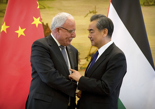 Chinese Foreign Minister Wang Yi meets with  Palestinian Foreign Minister Riyad al-Maliki, April 2017
