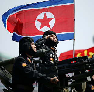 A soldier salutes atop an armoured vehicle as it drives past the stand with North Korean leader Kim Jong Un during a military parade marking the 105th birth anniversary of country's founding father, Kim Il Sung, in Pyongyang April 15, 2017.