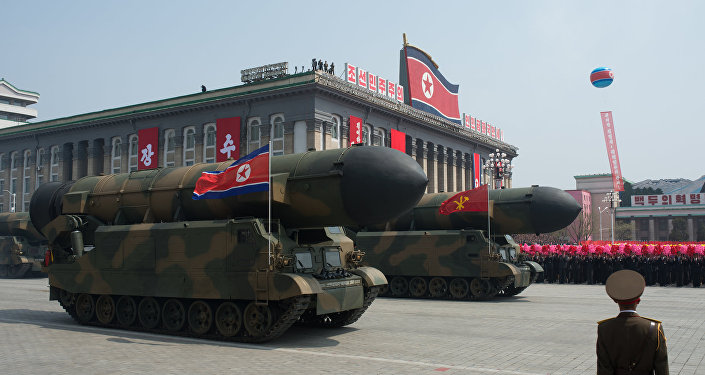 Military engineering vehicles seen during a military parade marking the 105th birthday of Kim Il-sung, the founder of North Korea, in Pyongyang