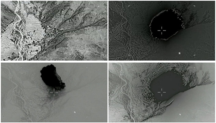 A combination of still images taken from a video released by the U.S. Department of Defense on April 14, 2017 shows (clockwise) the explosion of a MOAB, or mother of all bombs, when it struck the Achin district of the eastern province of Nangarhar, Afghanistan, bordering Pakistan.