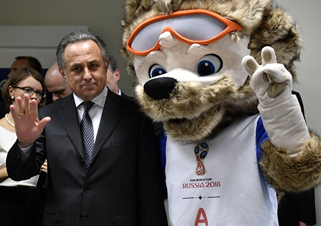 President of the Russian Football Union, Deputy Prime Minister Vitaly Mutko and Zabivaka, official mascot of the 2018 FIFA World Cup, at the opening of the FIFA main ticket office