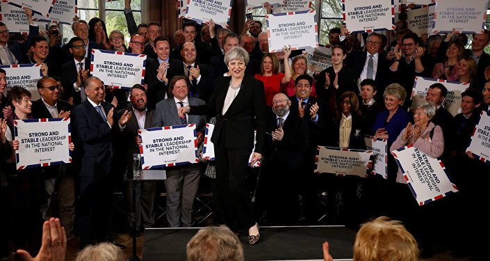 Britain's Prime Minister Theresa May delivers a speech to Conservative Party members to launch their election campaign in Walmsley Parish Hall, Bolton, Britain April 19, 2017