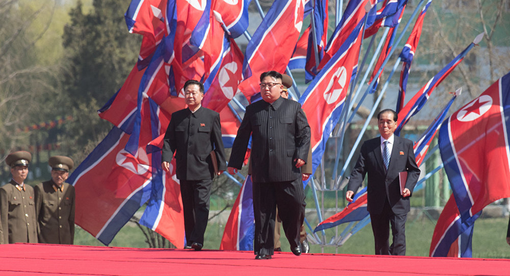 DPRK leader Kim Jong-un at a ceremony to open a new residential area on Ryomyong Street in Pyongyang.