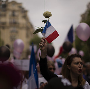 A woman holds a rose and a French flag during a demonstration in what was described as a march of support for all French security forces, in Paris