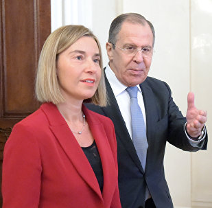 Russia's Foreign Minister Sergei Lavrov and Federica Mogherini, High Representative of the European Union for Foreign Affairs and Security Policy and Vice President of the European Commission, during a meeting in Moscow.